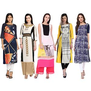 Lovely Printed Casual Wear American Crape Kurtis - Pack of 5