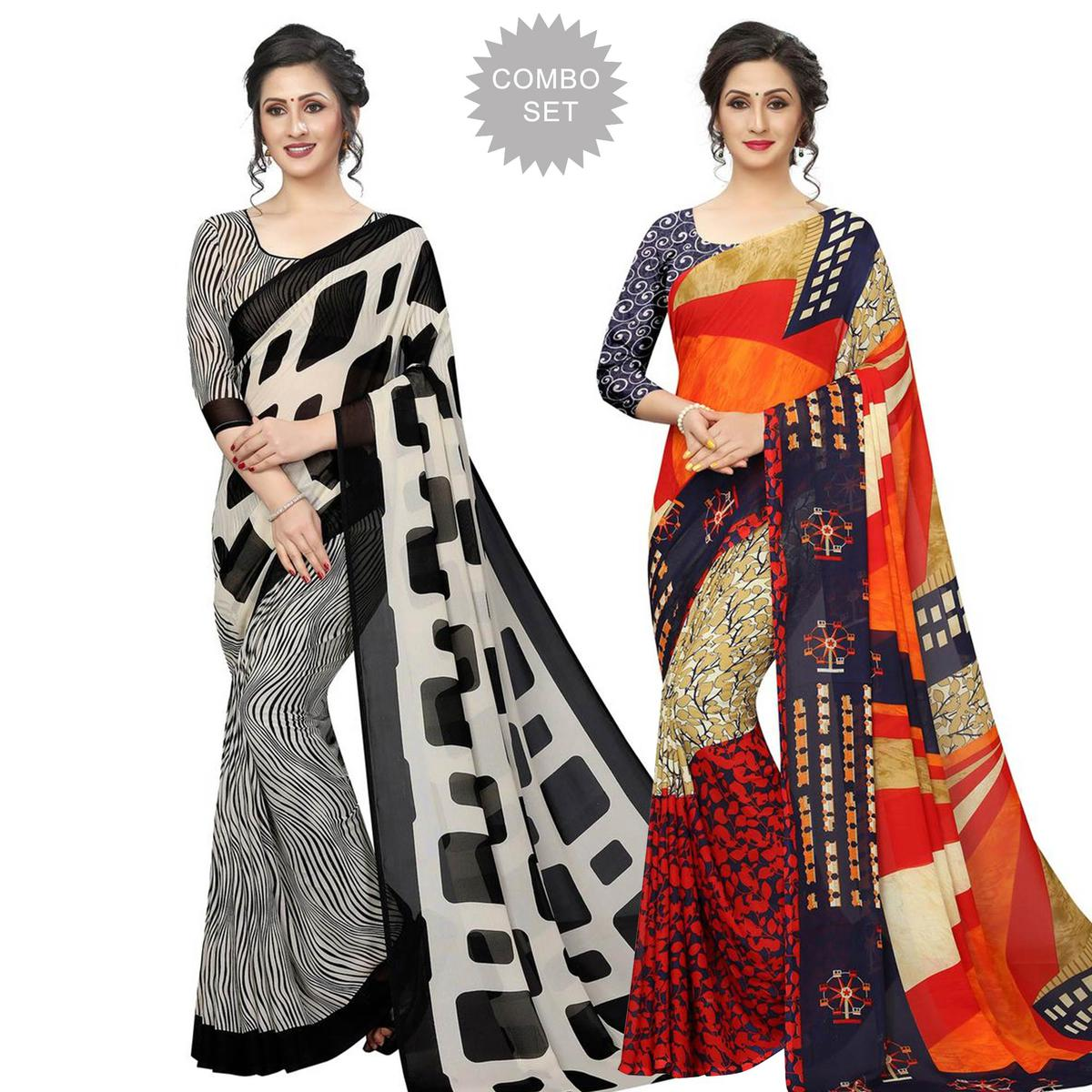 Ideal Casual Printed Georgette Saree - Pack of 2