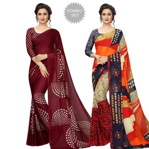 Imposing Casual Printed Georgette Saree - Pack of 2