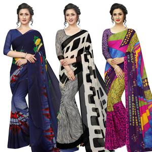 Sophisticated Casual Printed Georgette Saree - Pack of 3