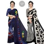 Trendy Casual Printed Georgette Saree - Pack of 2