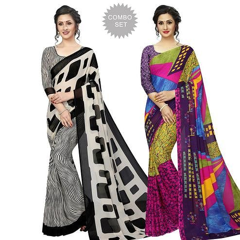 Elegant Casual Printed Georgette Saree - Pack of 2