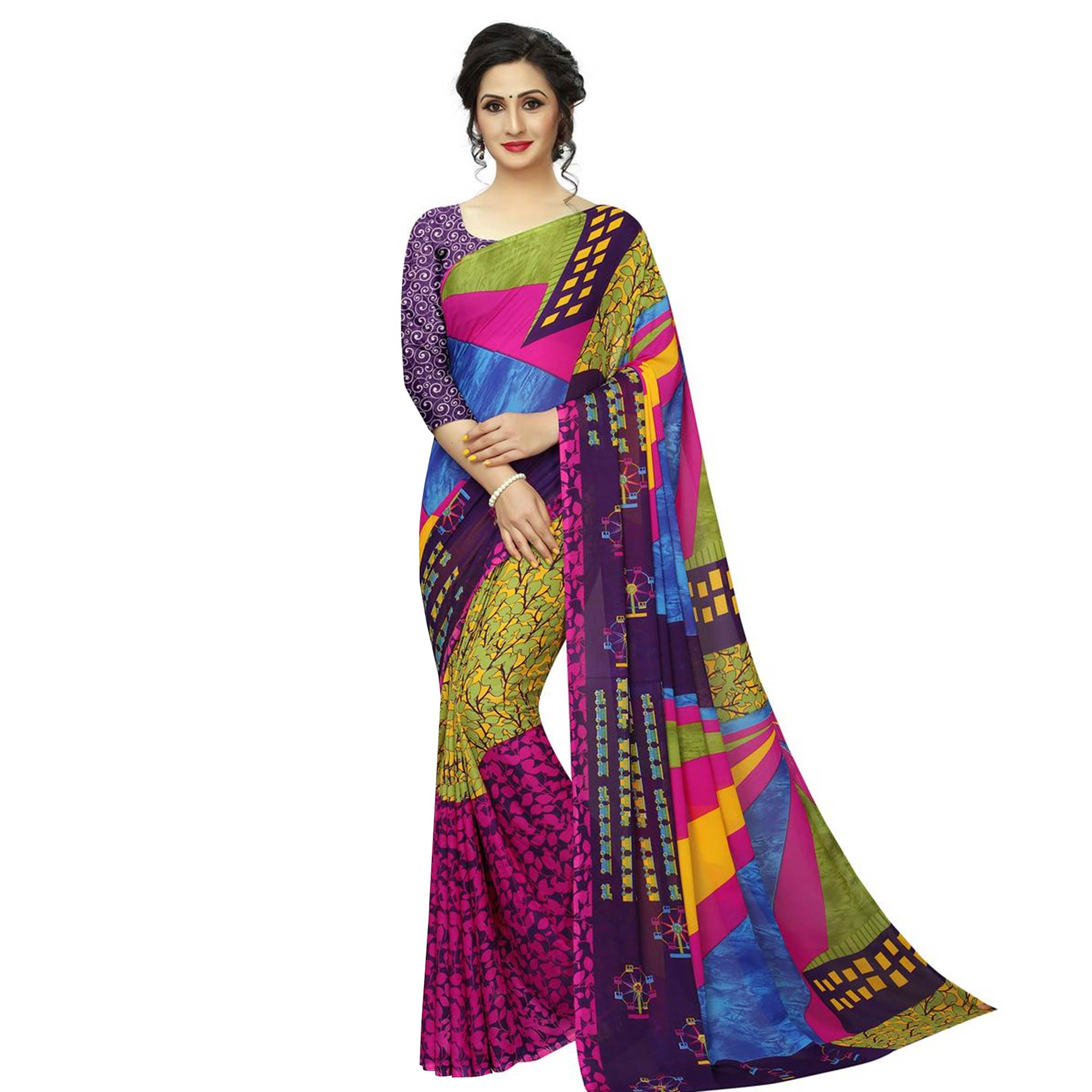 Radiant Casual Printed Georgette Saree - Pack of 2