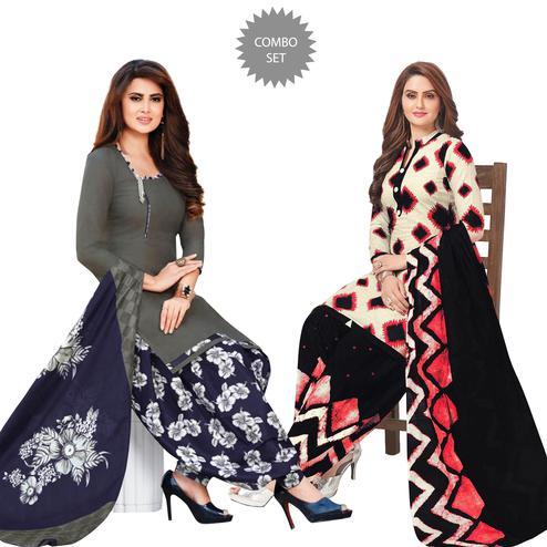 Delightful Casual Printed Crepe Patiala Suit - Pack of 2