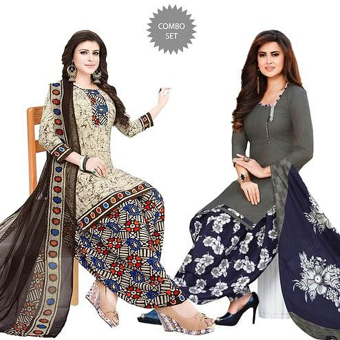 Engrossing Casual Printed Crepe Patiala Suit - Pack of 2