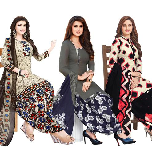 Jazzy Casual Printed Crepe Patiala Suit - Pack of 3-copy-2