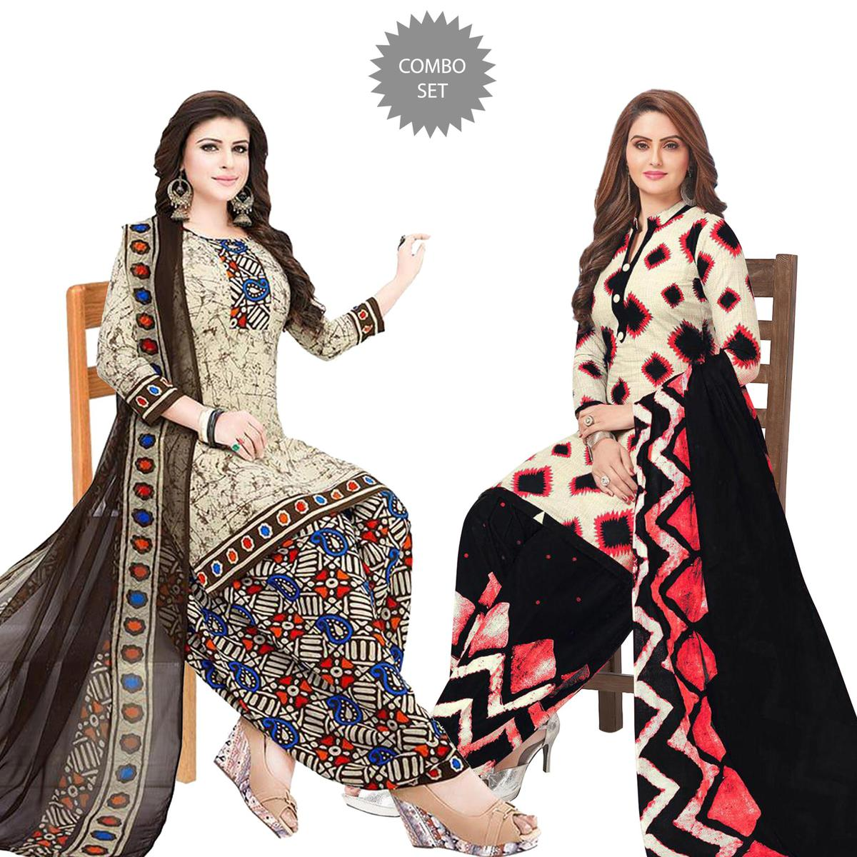 Captivating Casual Printed Crepe Patiala Suit - Pack of 2
