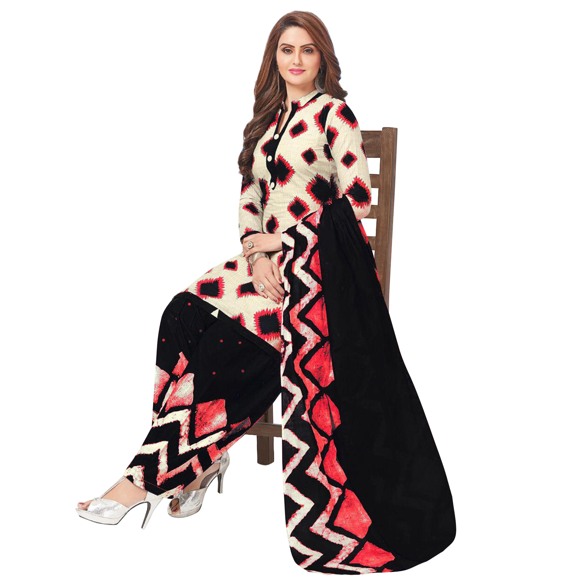 Innovative Casual Printed Crepe Patiala Suit - Pack of 3