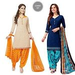 Eye-catching Casual Printed Crepe Patiala Suit - Pack of 2