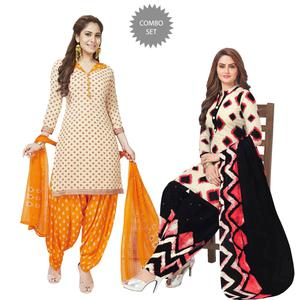 Fantastic Casual Printed Crepe Patiala Suit - Pack of 2