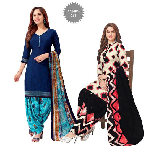 Amazing Casual Printed Crepe Patiala Suit - Pack of 2