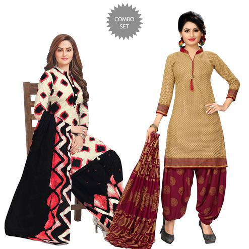 Blissful Casual Printed Crepe Patiala Suit - Pack of 2