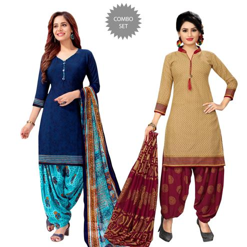 Imposing Casual Printed Crepe Patiala Suit - Pack of 2