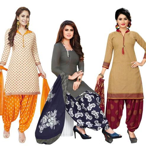 Hypnotic Casual Printed Crepe Patiala Suit - Pack of 3