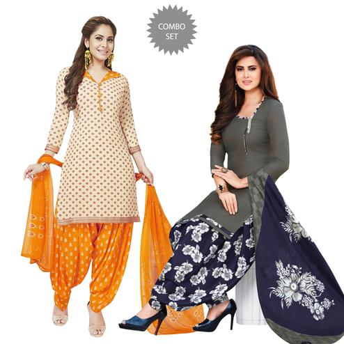 Flattering Casual Printed Crepe Patiala Suit - Pack of 2