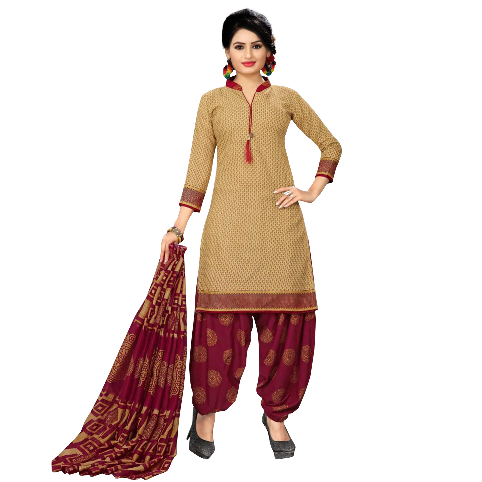 Excellent Casual Printed Crepe Patiala Suit - Pack of 2