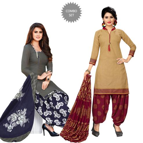 Marvellous Casual Printed Crepe Patiala Suit - Pack of 2