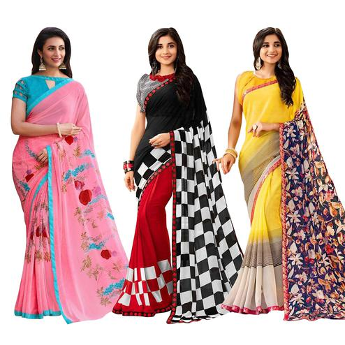 Radiant Colored Casual Printed Georgette Saree - Pack of 3