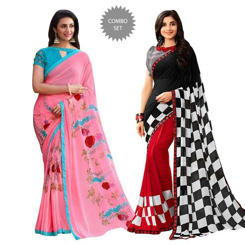 Pleasant Colored Casual Printed Georgette Saree - Pack of 2