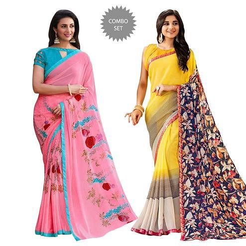 Opulent Colored Casual Printed Georgette Saree - Pack of 2