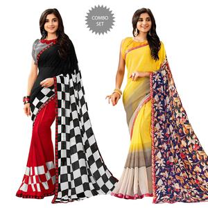 Energetic Colored Casual Printed Georgette Saree - Pack of 2