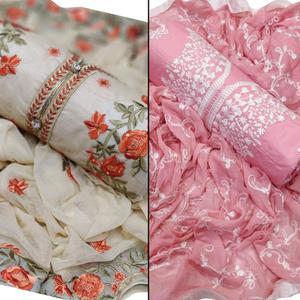 Mesmerising Partywear Embroidered Chanderi Silk-Cotton Dress Material - Pack of 2