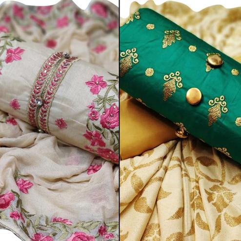 Ethnic Partywear Embroidered Chanderi Silk-Cotton Dress Material - Pack of 2