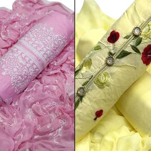 Ravishing Partywear Embroidered Cotton Dress Material - Pack of 2