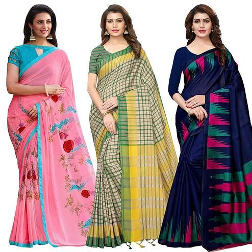 Desiring Casual Printed Saree - Pack of 3