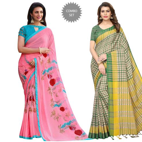 Classy Casual Printed Saree - Pack of 2
