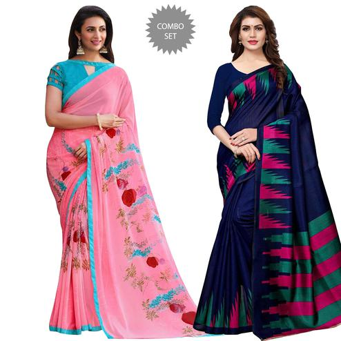 Admiring Casual Printed Saree - Pack of 2