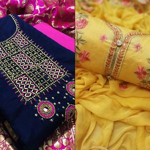 Energetic Partywear Embroidered Chanderi Silk Dress Material - Pack of 2