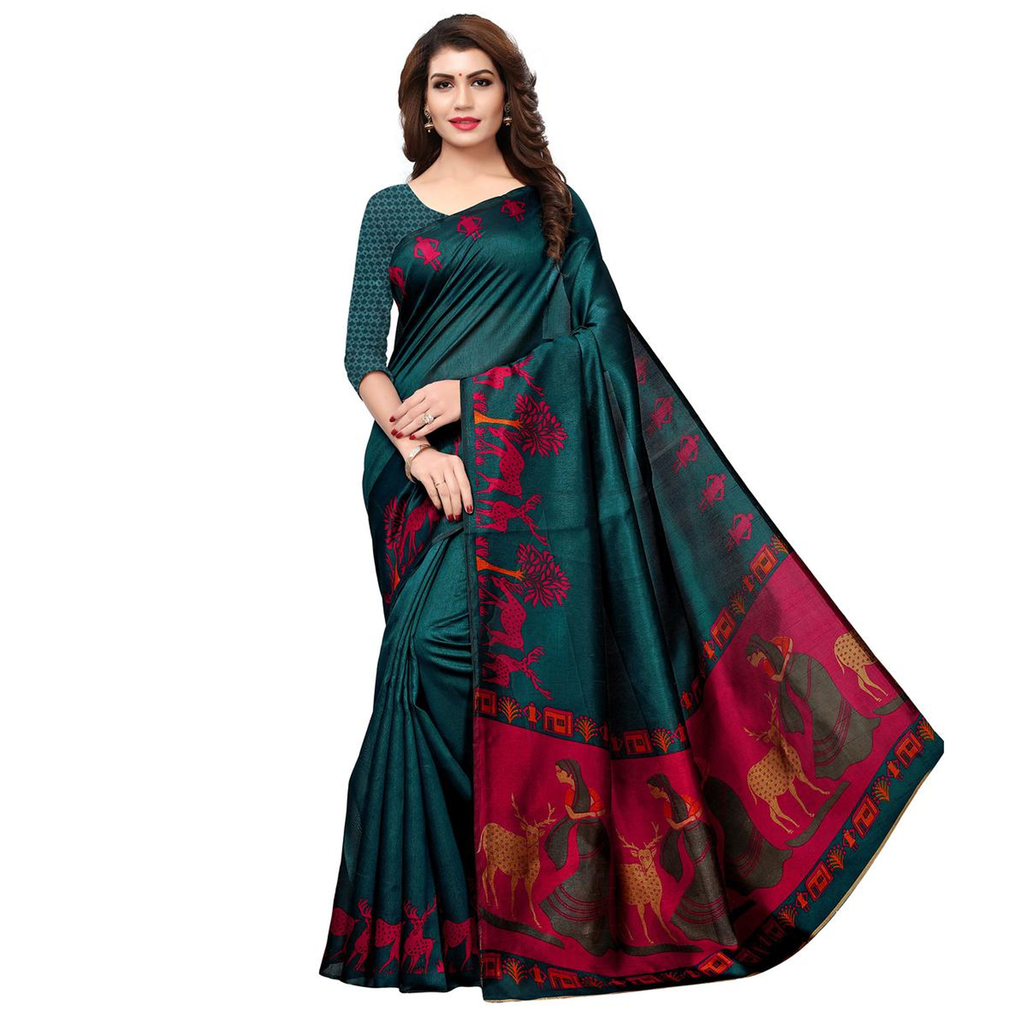 Blissful Casual Printed Saree - Pack of 3
