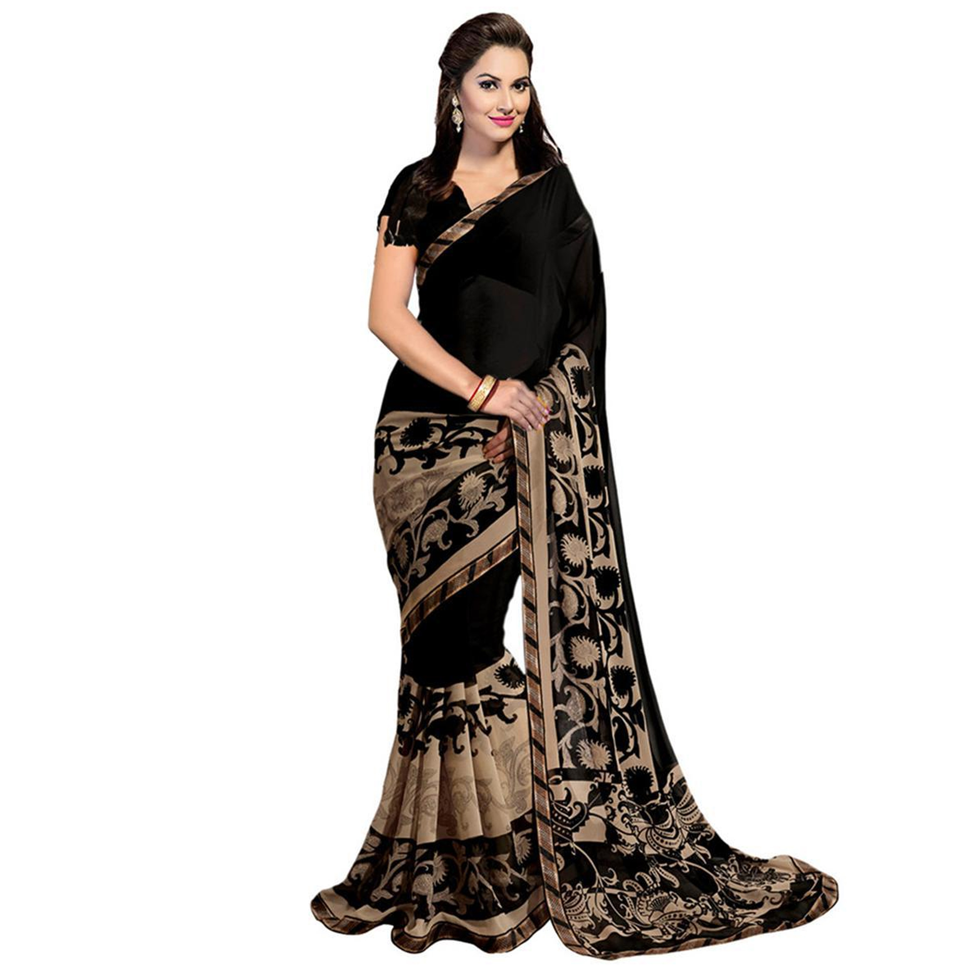 Ideal Casual Printed Georgette-Art Silk Saree - Pack of 2