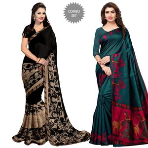Imposing Casual Printed Georgette-Khadi Silk Saree - Pack of 2