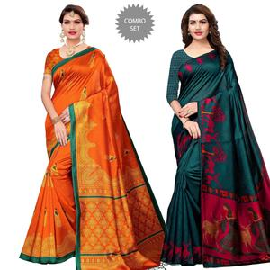 Lovely Casual Printed Art Silk-Khadi Silk Saree - Pack of 2