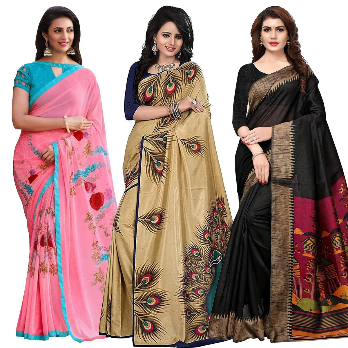 Ethnic Casual Printed Georgette-Art Silk Saree - Pack of 3
