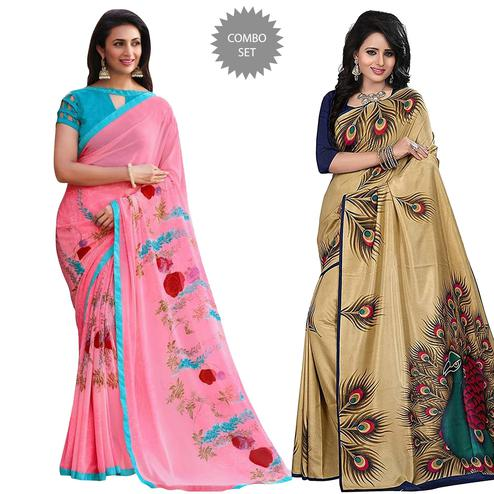 Ravishing Casual Printed Georgette-Art Silk Saree - Pack of 2