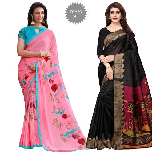 Staring Casual Printed Georgette-Art Silk Saree - Pack of 2