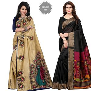 Dazzling Casual Printed Art Silk Saree - Pack of 2