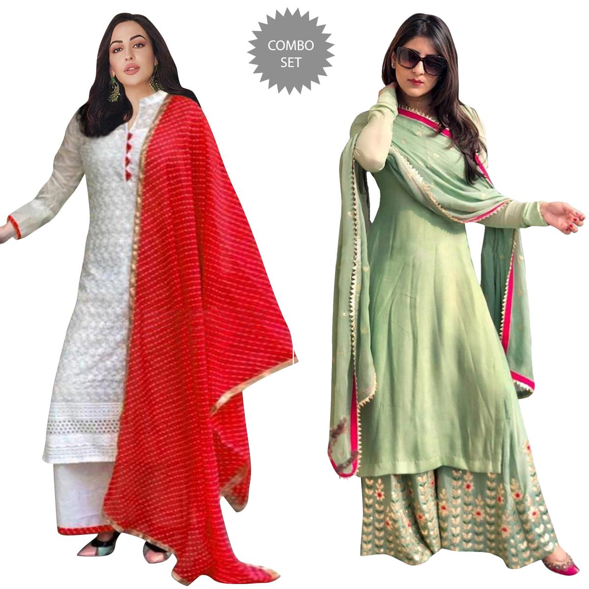 Staring Partywear Embroidered Cotton-Georgette Palazzo Suit - Pack of 2