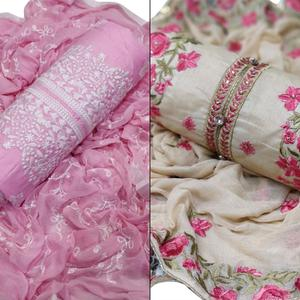 Preferable Partywear Embroidered Cotton-Chanderi Silk Dress Material - Pack of 2