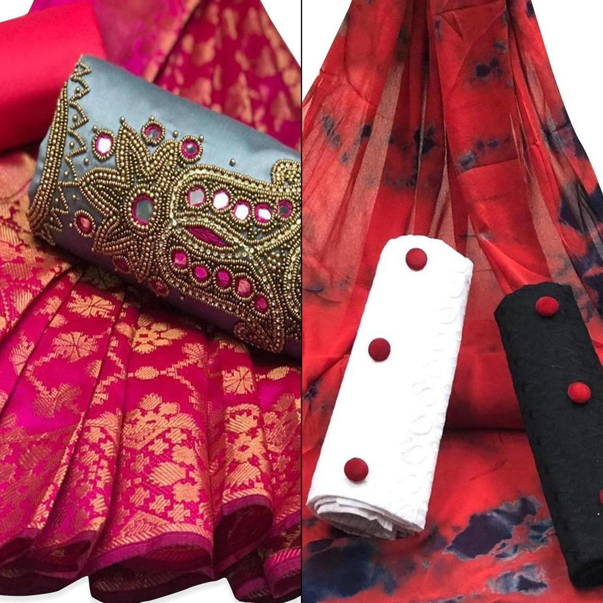Excellent Partywear Embroidered Chanderi Silk-Cotton Dress Material - Pack of 2