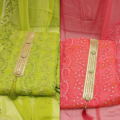Preferable Partywear Embroidered Chanderi Silk Dress Material - Pack of 2