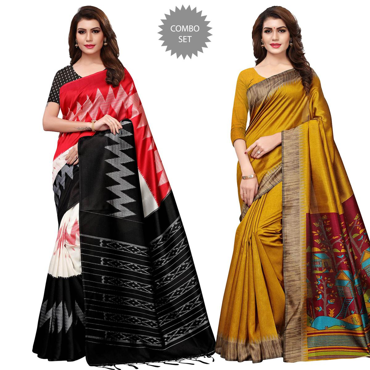 Elegant Casual Printed Mysore Silk-Art Silk Saree - Pack of 2