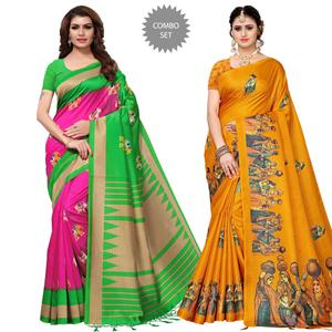 Pleasant Festive Wear Printed Mysore Silk-Khadi Silk Saree - Pack of 2