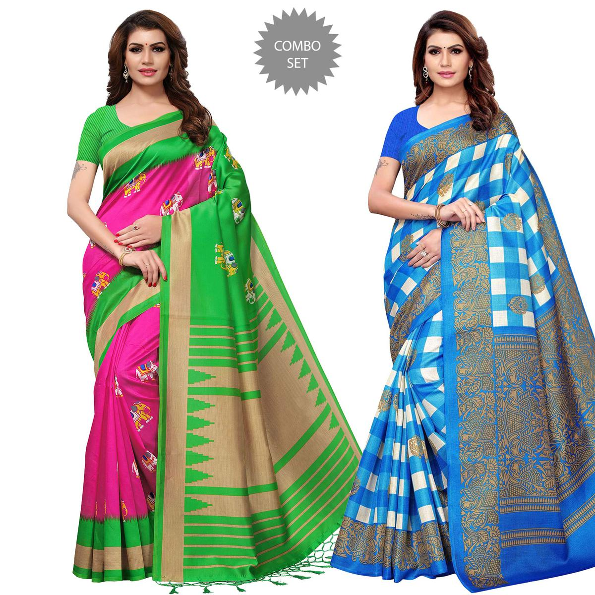 Opulent Festive Wear Printed Mysore Silk-Khadi Silk Saree - Pack of 2