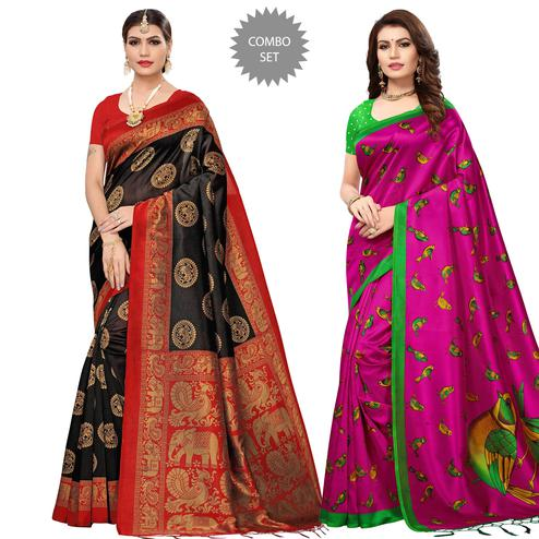 Exceptional Festive Wear Printed Art Silk-Mysore Silk Saree - Pack of 2