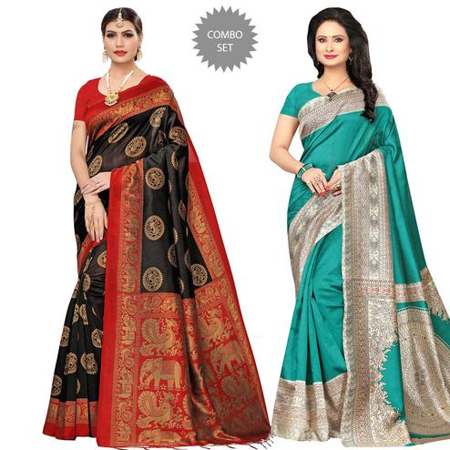 Gleaming Festive Wear Printed Art Silk-Bhagalpuri Silk Saree - Pack of 2