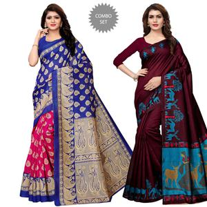 Mesmeric Festive Wear Printed Kashmiri Silk-Art Silk Saree - Pack of 2